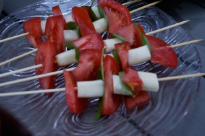 toddler snacks - tomato and mozzarella salad on a stick